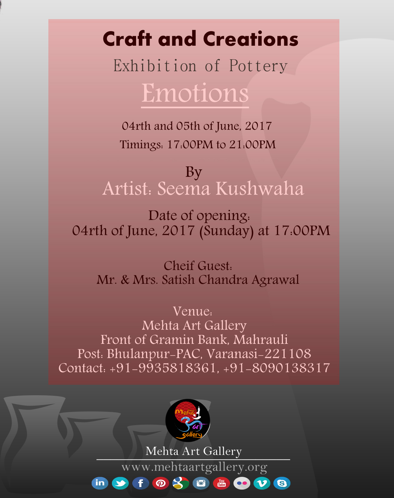 Emotions pottery exhibion by seema kushwaha mehta art gallery